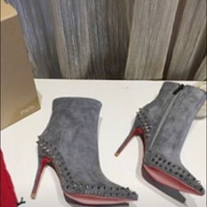 New Christian Louboutin Suede Stud ankle Boot.